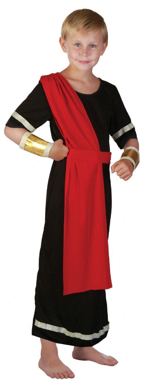 Boys Caesar Black Costume Roman King Ancient Leader Fancy Dress Outfit